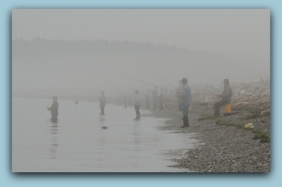 Fishing in the fog at Drift Wood Beach....