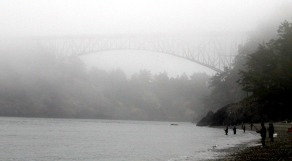 Fishing in the fog under Deception Pass Bridge.