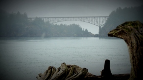 A view of Deception Pass Bridge as seen from the west at the point where West Beach and North Beach meet.