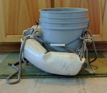 ...a jury-rigged 5-gallon bucket....