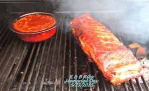 Slow smoked beans and ribs.....