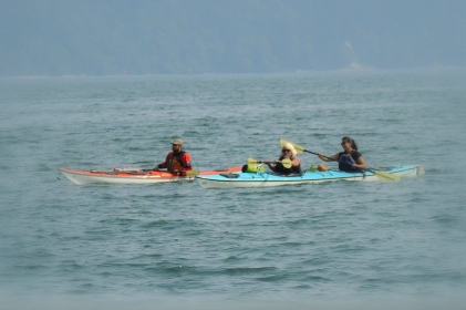 There are always kayakers out in the Sound...