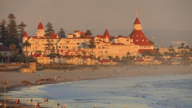 Hotel Del Coronado captured from a roof top patio at sunset