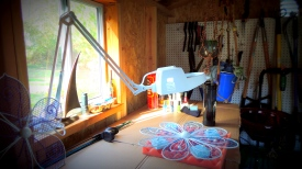 Diopter light, fan and even heat if I need it...All piped in via extension cord!