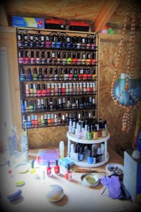 One wall rack of nail enamel....